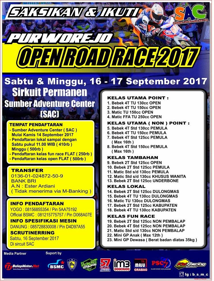 Sirkuit SAC Purworejo Siap Gelar Road Race Pada Akhir Pekan Ini, 16-17 September 2017
