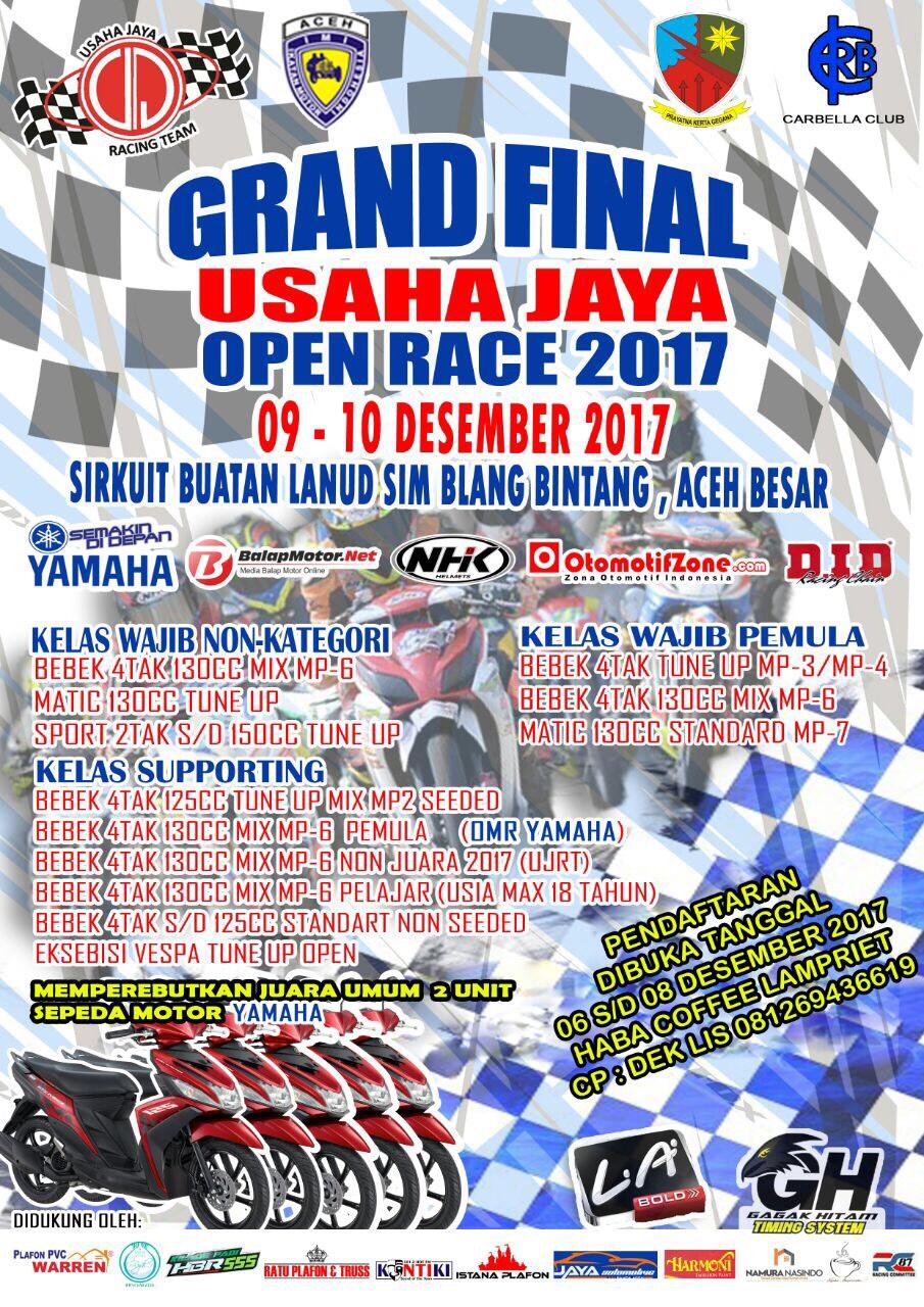 Final Usaha Jaya Open Race Berlangsung di Aceh Besar, 9-10 Desember 2017