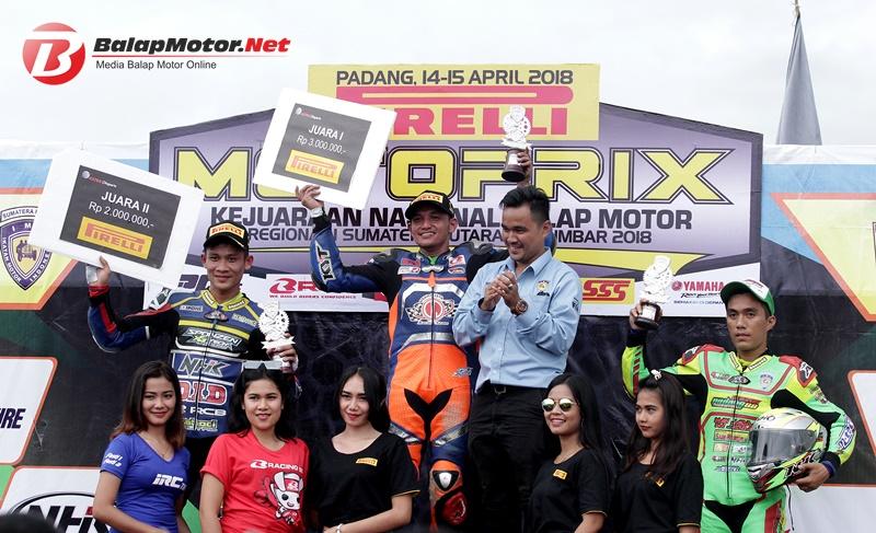 Motoprix Padang 2018 : Pakai Mesin Cadangan, Reza Fahlevi Juarai Race MP1, MX King Kuasai Podium