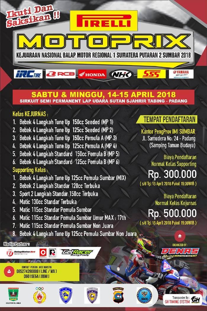 Pertarungan Motoprix Sumatera 2018 Lanjut di Kota Padang Akhir Pekan Ini, Ini Desain Sirkuitnya