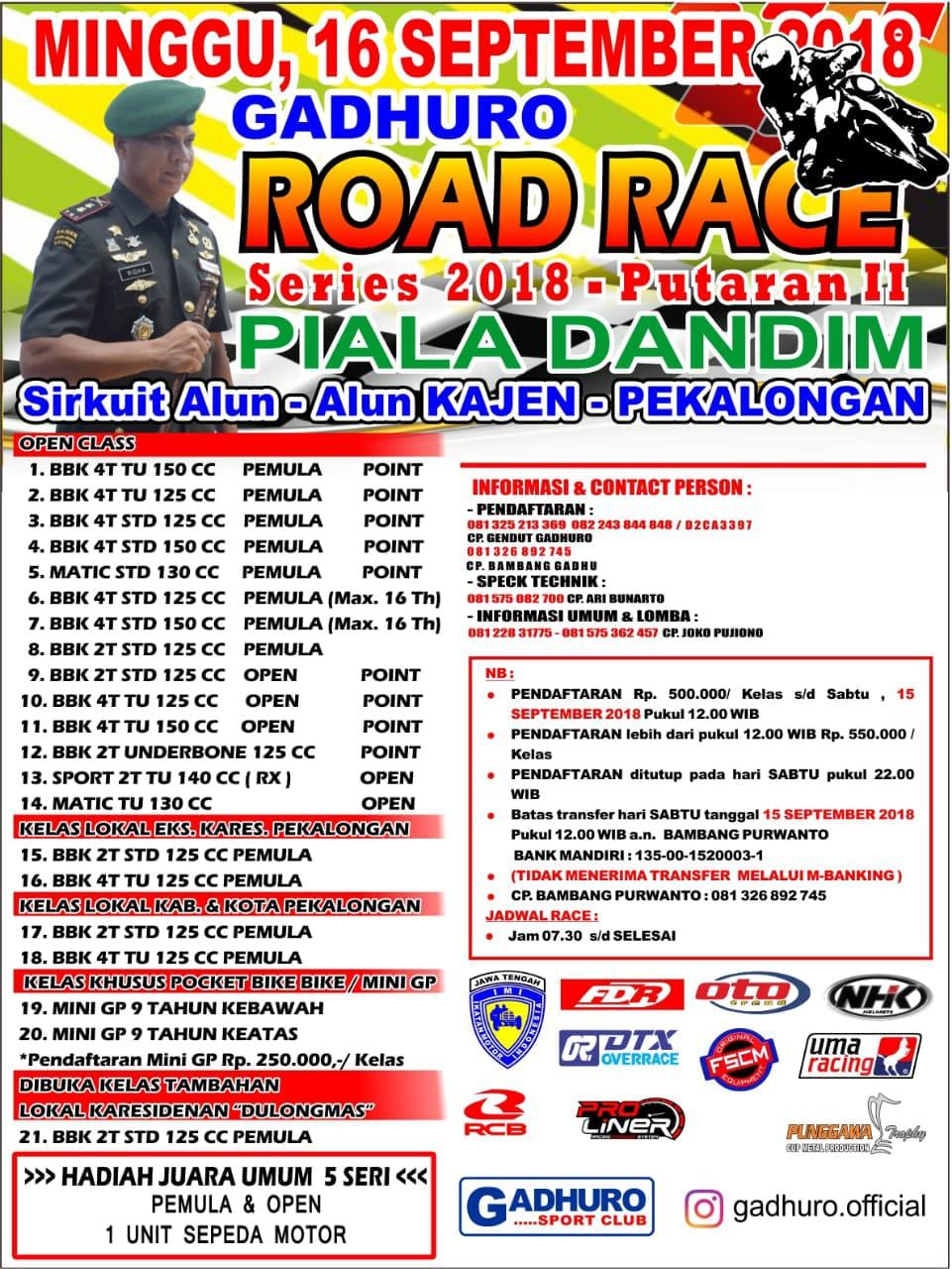 Agenda Balap: Gadhuro Road Race Seri 2 di Kajen 16 September 2018, Sudah Fix!