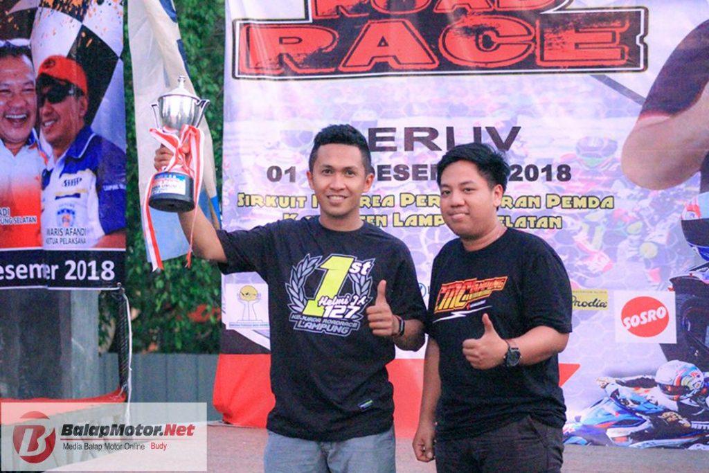 Bermain Aman, Helmi Juniartha Antarkan CMC Lampung Raih Juara Umum Kejurda Roadrace Lampung 2018