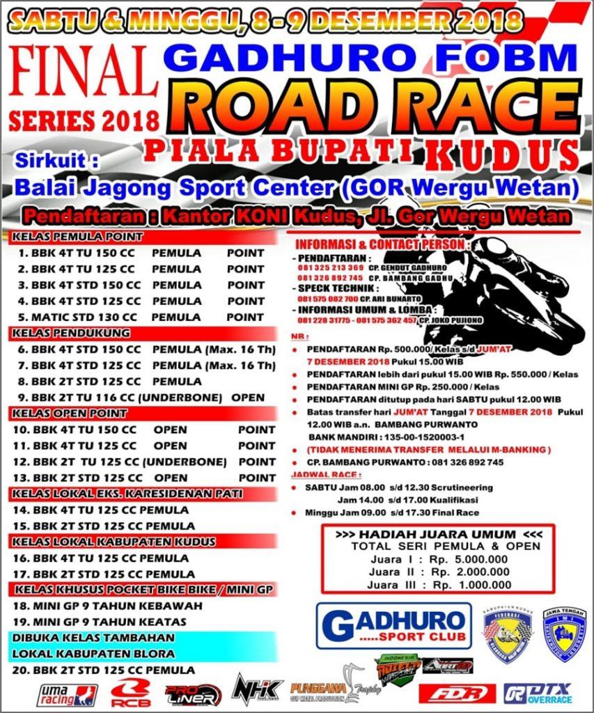 Agenda Balap: Final Gadhuro Road Race Series di Kudus 8-9 Desember 2018