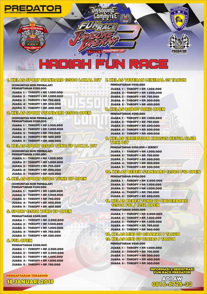 Agenda Balap: Predator Fun Race Jamda 2 YRKI DIY 20 Januari 2019